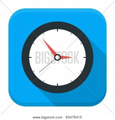 Clock App Icon With Long Shadow