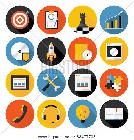 Flat Icons Vector Collection With Long Shadow Of Web Design Objects, Business, Office And Marketing