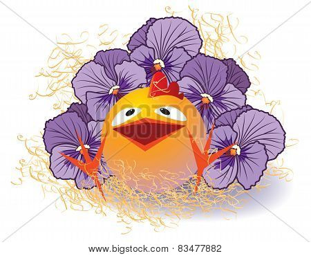 Violet Pansies And Chicken