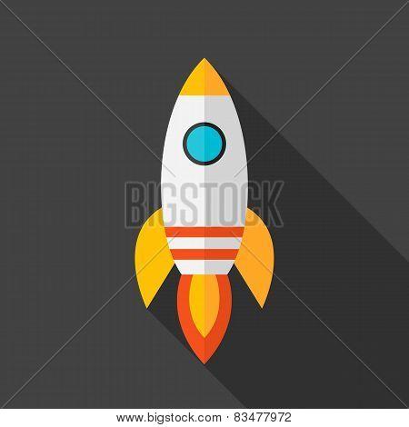 Flat Stylized Rocket