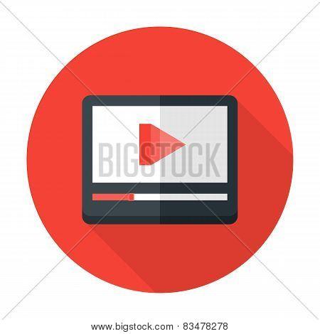 Media Play Flat Circle Icon
