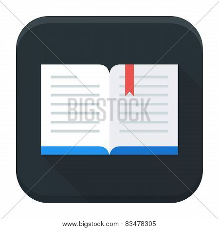 Open Book App Icon With Long Shadow