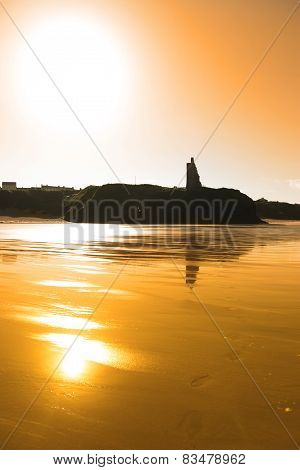 Sunset View Of The Castle Beach And Cliffs In Ballybunion