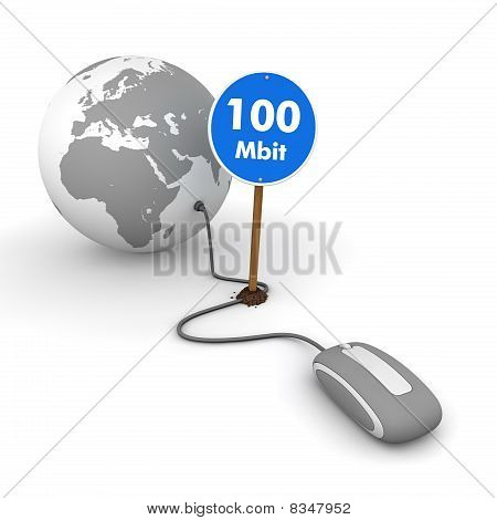 Surfing The Web In Grey - Blue 100 Mbit Sign On The Cable