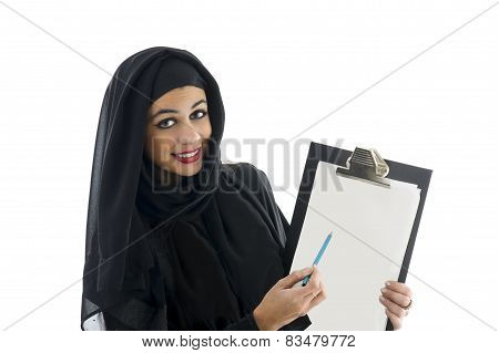 young attractive arabic business woman showing clipboard isolated