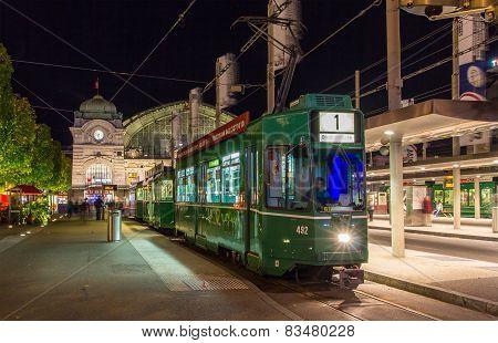 Tram at Basel SBB station