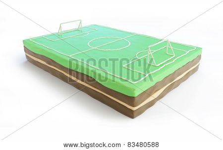 Football Field Cake 3D On A White Background