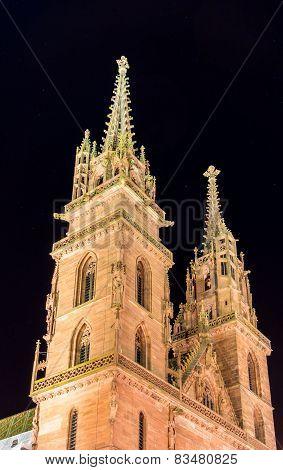 Basel Minster By Night - Switzerland