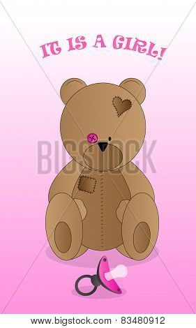 Background with teddy bear and pacifier
