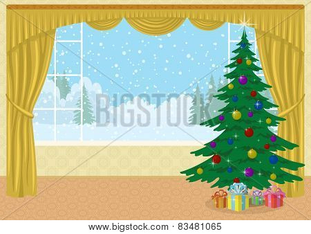 Room with Christmas tree and gifts