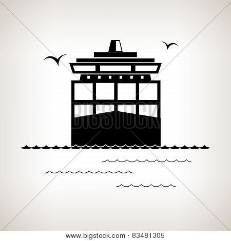 Silhouette Cargo Container Ship On A Light Background