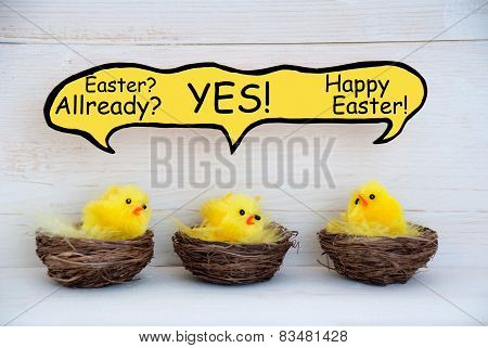 Three Chicks With Speech Balloon And Easter Joke