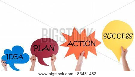 Four Speech Balloons With Idea Plan Action Success