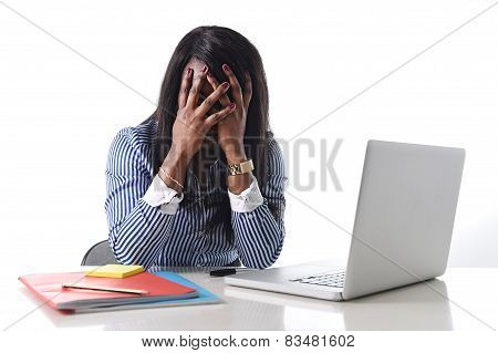Black African American Ethnicity Stressed Woman Suffering Depression At Work