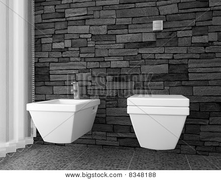 modern toilet with black stone wall and white equipment