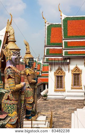 Demon Guardian In Wat Phra Kaew Grand Palace Bangkok