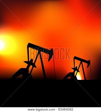 Vector illustration with working oil pumps