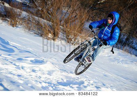 Cyclist jumping