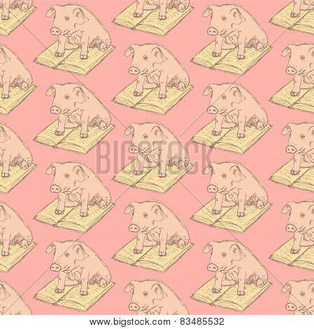 Sketch Fancy Pig In Vintage Style
