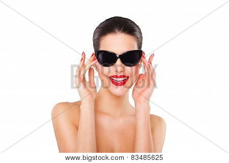 Beautiful fashion sexy model girl with stylish oversized black sunglasses. Isolated on white backgro