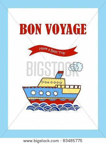 Bon Voyage journey greeting card with hand drawn steamship.