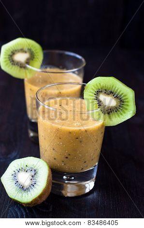 Fresh Homemade Smoothie With Kiwi And Banana