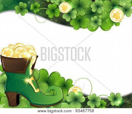 Leprechaun Shoe, Clover And Gold Coins