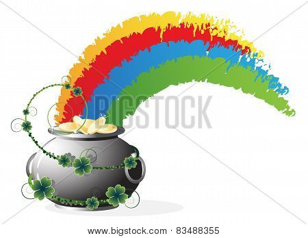 Pot With Gold  And Rainbow