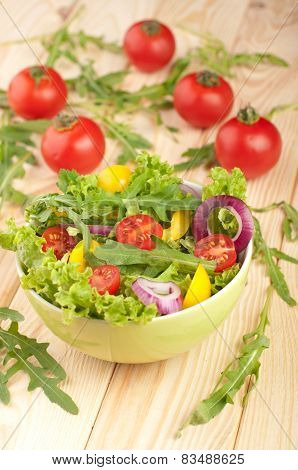 Fresh Salad With Tomatoes Pepper And Onions