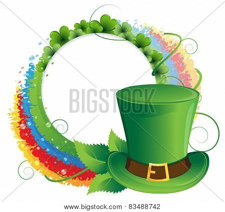 Rainbow, Clover And  Leprechaun Hat