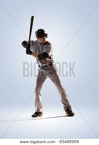 isolated on white professional baseball player