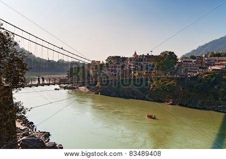 Laxman Jhula Bridge Over Ganges River
