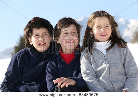 Smiling Three Brothers In The Mountains On Snow