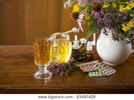 medicinal herbs, honey, herbal tea