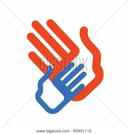 charity, motherhood. colored hands on white background