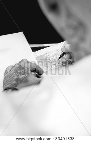 Tattoo Artist Drawing.