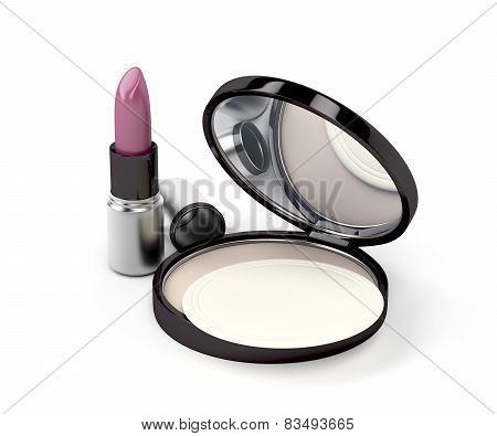 Compact Powder And Lipstick