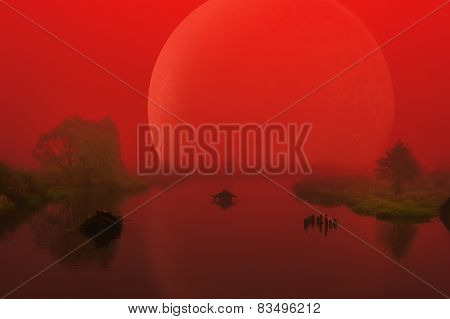 Large Red Alien Planet Over Foggy River