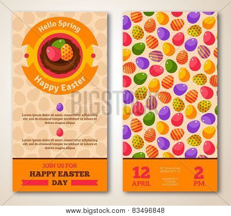 Vintage Happy Easter Greeting Card Design.