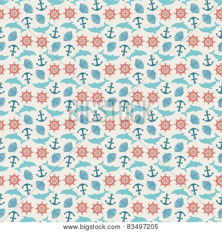 Seamless pattern of anchor, wheel, dolphin and seashell