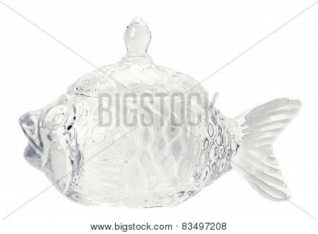 Glass Figure Of Fish Isolated On The White Background