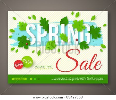 Spring Sale flyer design with green leaves. Vector illustration.