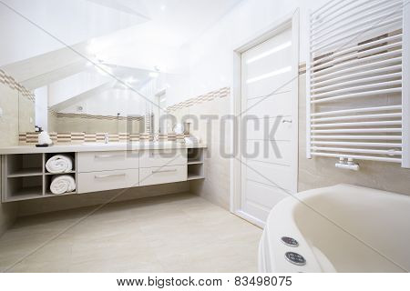 Interior Of Spacious Elegant Bathroom