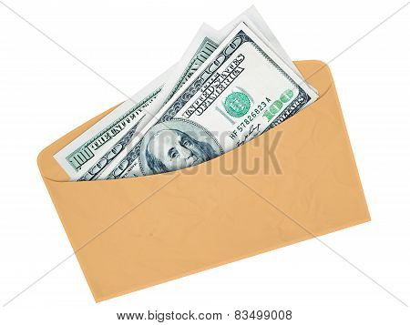 Envelope With Cash Dollars