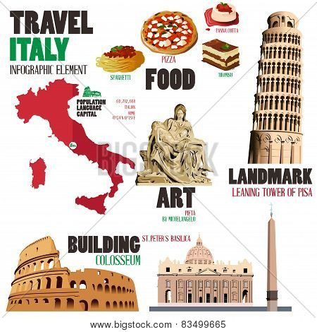 Infographic Elements For Traveling To Italy