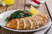picture of breast  - grilled chicken breast with spinach and peppers - JPG