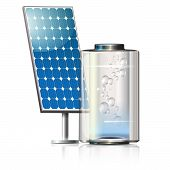 foto of solar battery  - solar panels on the front in blue and creative battery with bubble - JPG