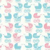 stock photo of buggy  - Seamless pattern with vintage buggy on light background - JPG