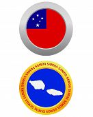 stock photo of samoa  - button as a symbol SAMOA flag and map on a white background - JPG
