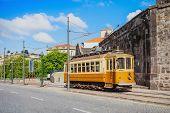 image of tram  - Historical Tram on the street Porto Portugal - JPG